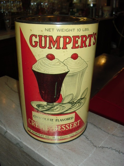Old gumpert 39 s soda fountain ice cream parlor advertising for Old fashioned soda fountain near me