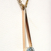 Deco Aquamarine 14K  RoseGold Two-Tone Pendant drop necklace