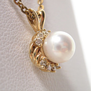 14K Gold Pearl Diamond Pendant