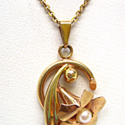 Rose & Yellow Gold Two-Tone Pearl Flower Pendant