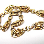 Art Nouveau 18K Gold Fancy Link Bracelet