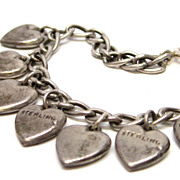 Art Deco Sterling Silver Child's Heart Charm Bracelet