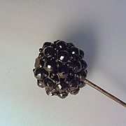 Victorian Riveted & Wired Faceted Jet Hatpin Hat Pin