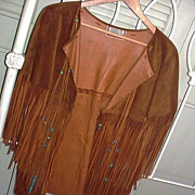 SALE 1960's Hippie Fringe Beaded Leather Jacket Vest Santa Fe Co.