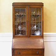 Antique English Oak Stained Glass Bureau Bookcase, Secretary Desk. FREE SHIPPING!*