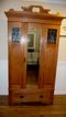 Antique English Victorian Satinwood Wardrobe/Armoire With Copper Panels & Mirror.