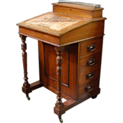 Antique English Walnut Davenport Bureau Desk.