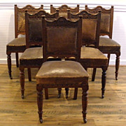 Antique English Victorian Carved Mahogany Dining Chairs. Set of 6.