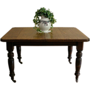 Antique English Oak Extending, Wind Out Dining Table.