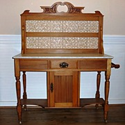 Victorian Satinwood Tile Back Wash Stand, English.