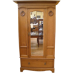 Antique English Oak Victorian Mirrored Wardrobe, Armoire.