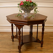 Antique English Mahogany Victorian Octagonal Center, Foyer, Card, Side Table.