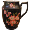 Rare Antique English Carlton Ware Pottery Jug, Hand Painted, Black With Pink Flowers.