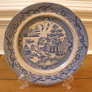 Antique English Rare Staffordshire Elkin & Newton Stoneware Blue Willow Plate.