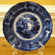 Antique Ironstone Flow Blue Plate, Sam Alcock & Co English C.1840.