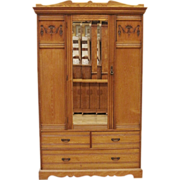 Antique English Late Victorian Country Carved Elm Wardrobe, Armoire.