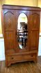 Edwardian Mahogany Inlaid Wardrobe/Armoire With Mirror, English.