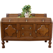 Antique English Solid Oak Carved Sideboard, Server, Buffet. FREE SHIPPING!*