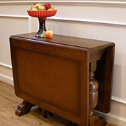 English Oak Art Deco Drop Leaf, Double Gate Leg Table.