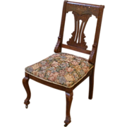 Antique English Victorian Mahogany Inlaid Mother of Pearl Side Chair.