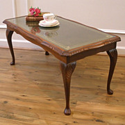 Vintage English Mahogany Leather & glass Top Coffee Table