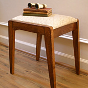 Antique English Oak Small Upholstered Vanity Stool. FREE SHIPPING!*