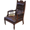 Antique English Carved Walnut, Leather Button Back Side Arm Chair.