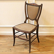 Antique English Mahogany Inlaid Petite Shield Back Chair