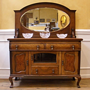 Antique English Walnut Art Nouveau Mirror Back Sideboard, Server, Buffet. FREE SHIPPING!*