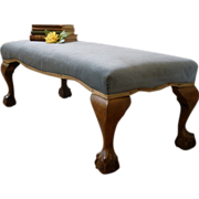 Antique English Long Upholstered Chippendale Style Foot Stool Bench. FREE SHIPPING!*