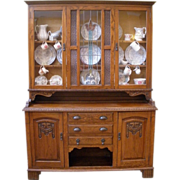 Large Antique English Carved Oak Stained Glass Dresser/Sideboard/China Cabinet/Hutch. FREE SHI