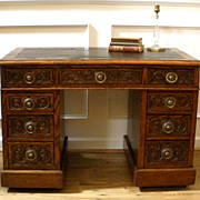 Antique English Oak Heavily Carved Knee Hole Desk, Bureau.