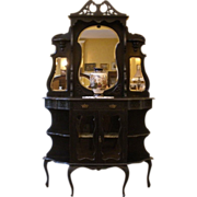 Antique English Ebonized Mahogany Carved Mirrored Etagere. FREE SHIPPING!*