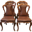 Antique English Victorian Carved Rosewood Dining Parlor Chairs. Set of 4