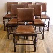 Antique English Oak Dining Chairs. Set of 6.