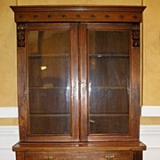 Antique English Large Victorian Carved Mahogany Bookcase. FREE SHIPPING!*