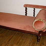 Petite Victorian Mahogany Barley Twist Chaise Lounge/Sofa. English C.1900