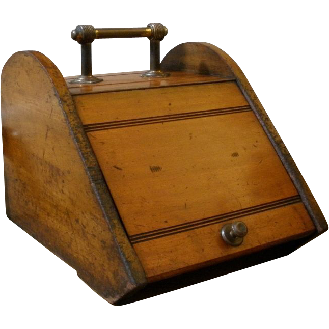 Antique English Mahogany and Brass Coal Scuttle. FREE SHIPPING!*
