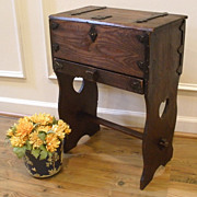 Antique English Arts and Crafts Pine Sewing Box Table.