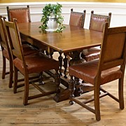 Antique English Oak Heavily Carved Dining Set. FREE SHIPPING!*