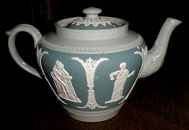Rare Dudson Jasperware Teapot. English C.1880.