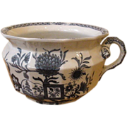 Antique English Blue & White Mason's Ironstone Chamber Pot, Potty Bowl.