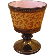 Antique English Copper & Pink Luster Pottery Goblet, Cup.