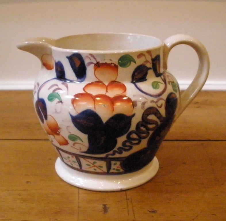 19th Century Gaudy Welsh Jug. Oyster Pattern.