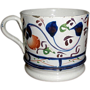 19th Century Gaudy Welsh Cup, Mug. Oyster Pattern.
