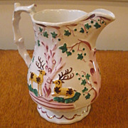 Antique English Staffordshire Soft Paste Deer Hunt Scene Pink Luster Jug, Pitcher.
