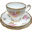 Vintage, English, Porcelain, Cup, Saucer & Side Plate Trio. Roslyn Fine Bone China.