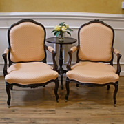 SOLD Pair of Antique French Carved Walnut Louis XV Fauteuil, Arm, Side Chair.