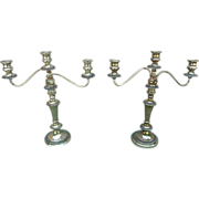 Pair Silver Plated Candelabras By Goldfeder Silverware Co.