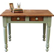 Painted, Primitive, Rustic Pine Farm Table/Desk. American, Late 1800's